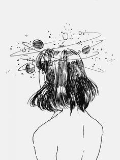 Fond d'écran macbook air fond d'écran verrouillage inspiratrice image dessin fille tête en nuages dessin noir et blanc