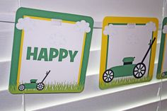 Lawnmower Birthday Banner / Green Yellow / ANY by PinkInkCreation