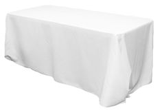 "$11.99 - 90""x132"" Rectangular Oblong Polyester Tablecloth - White - http://www.cvlinens.com/90x132-rectangular-oblong-polyester-tablecloth-white-p-606.html"