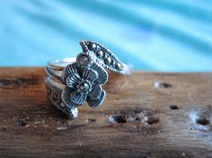 Sterling Flower Ring with Marcasite Leaves  Size 6.75 on Etsy, $20.00