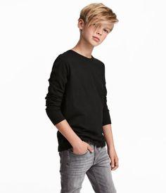 Jersey Shirt | Black | KIDS | H&M US Boys Haircuts Long Hair, Boys Haircut Styles, Toddler Haircuts, Little Boy Hairstyles, Young Cute Boys, Cute Teenage Boys, Long Hair Cuts, Long Hair Styles, Teenage Boy Fashion