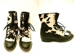 Vtg Leather Pony Hair Cow Print Lace Up Boots  http://www.etsy.com/shop/LuluTresors