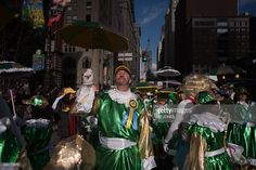 Revellers in fancy dress participate in the annual Mummers Parade in Philadelphia on January 1,