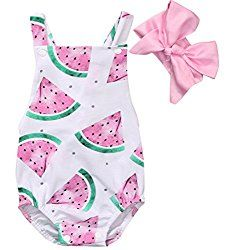 Cheap baby girl clothes, Buy Quality baby girl directly from China summer baby Suppliers: 2017 Summer Baby Girls Clothes Sleeveless Watermelon Infant Bebes Romper Backless Halter Jumpsuit +Headband Outfit Sunsuit Watermelon Outfit, Watermelon Baby, Watermelon Birthday, Watermelon Slices, Rompers For Kids, Girls Rompers, Baby Rompers, Baby Girl Romper, Baby Girl Newborn