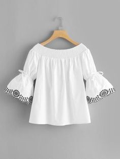 Off Shoulder Fluted Sleeve Embroidered TopFor Women-romwe Stylish Dresses, Casual Dresses, Cute Fashion, Girl Fashion, Hijab Fashion, Fashion Outfits, Kids Blouse Designs, Dresses Kids Girl, Girls