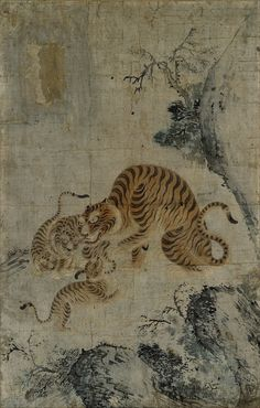 magictransistor:호랑이 가족 (Family of Tigers), Choson period watercolor, 17th century, Korea.