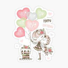 Happy Birthday Hearts, Birthday Wishes For Kids, Happy Birthday Wishes Cards, Happy Birthday Girls, Happy Birthday Pictures, Birthday Photos, Birthday Cards, Ragazza Carina, Balloons