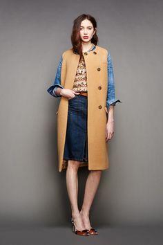 Denim front-slit pencil skirt with a camel vest coat for the J.Crew Fall/Winter 2015 Presentation