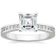 Platinum Petite Channel Set Princess Diamond Ring (1/4 ct. tw.), top view