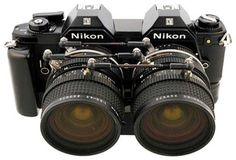 Vintage 3D SLR by Nikon. My first camera was a Nikon EM, this looks like a steampunk version