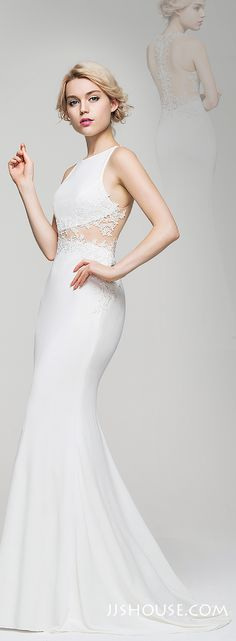The lace waist and back parts are really amazing. You will love this Trumpet Scoop Neck Sweep Train Jersey Evening dress. #JJsHouse