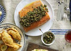 Australian Gourmet Traveller recipe for slow-roasted ocean trout with walnut and coriander salsa by Brigitte Hafner from Gertrude Street Enoteca.