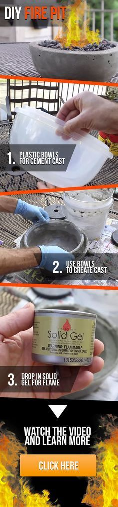 DIY Gel Fire Pits — This is the perfect DIY project to get the summer started! … DIY Gel Fire Pits — This is the perfect DIY project to get the summer started! This DIY fire pit is one of the easiest and frugal backyard ideas you will find. Cement Crafts, Concrete Projects, Outdoor Projects, Garden Projects, Diy Fire Pit, Fire Pits, Plastic Bowls, Outdoor Fire, Diy Projects To Try