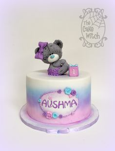 Tatty Teddy Cake , purples and pinks