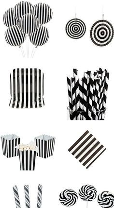 all white party Striped Mylar 18 Balloons. Spruce up your party with an eye-catching pattern thanks to these fun mylar balloons! Halloween Bridal Showers, Halloween Party Decor, Baby Halloween, Halloween Balloons, Halloween Party Supplies, Black White Parties, Black And White Theme, Black And White Party Decorations, Black And White Balloons