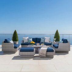 Portofino Comfort 7 Piece Seating Set In Laguna Blue