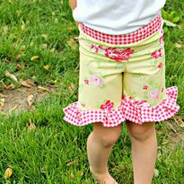 Ruffle Shorts - just add ruffles and waistband feature to the capri pants once the pattern is adjusted to fit well. Tan.