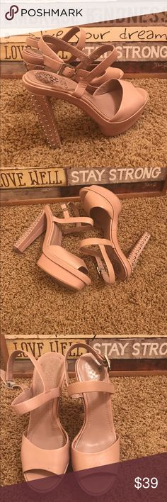 Vince Camuto Blush Studded Peep Toe Heels sz 7.5 Blush leather platform studded Peep Toe heels with adjustable ankle strap. Sz 7.5. Great condition from smoke and pet free home. Vince Camuto Shoes Heels
