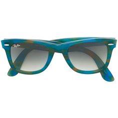 Ray-Ban 'Wayfarer' sunglasses ($195) ❤ liked on Polyvore featuring accessories, eyewear, sunglasses, blue, ray-ban wayfarer, unisex sunglasses, ray ban glasses, ray ban sunnies and wayfarer glasses