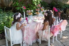 An Afternoon Tea Party Table with Pink Elements via Kara's Party Ideas   karaspartyideas.com