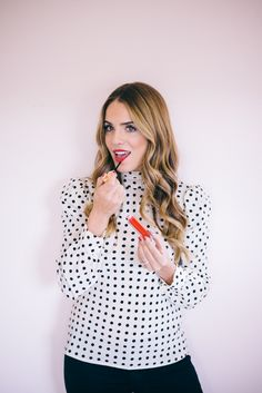 12.15 gold beauty (RED Valentino polka dot bow silk blouse + Burberry kisses gloss in 'military red' and 'festive gold')
