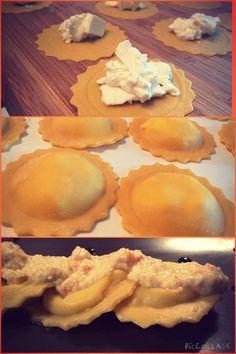 Un altro primo piatto da PROVARE!!!! (qui di seguito la ricetta) Per la pasta: 1 uovo ogni 100 g di farina 1 cucchiaio di olio extravergine di oliva Per il ripieno: Burrata fresca , un pizzico di s…