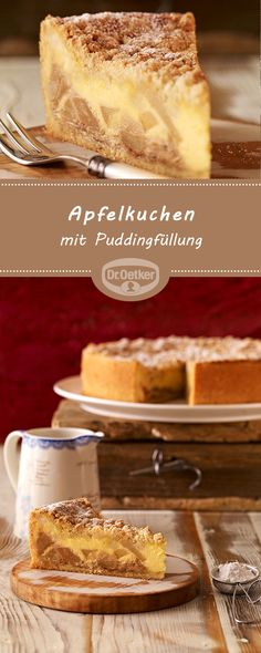 Apfelkuchen mit Puddingfüllung Apple pie with pudding filling: Juicy crumble cake with apples and marzipan Pudding Desserts, Fun Desserts, French Apple Cake, German Baking, French Desserts, Bakery Cakes, Cupcake Cookies, Apple Recipes, Sweets