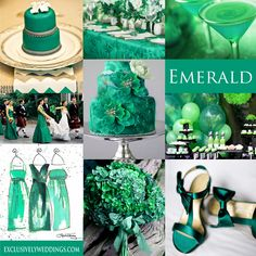 Emerald Green Wedding Color - Emerald is the Pantone Color of the Year for 2013. It can be paired with a variety of color choices.    #exclusivelyweddings   #weddingcolors