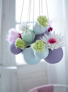 clustered hanging vases