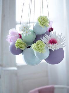 clustered hanging vases