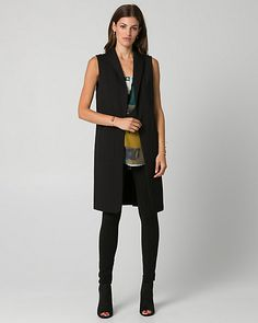 Ponte Shawl Collar Long Vest - This FLEX vest combines style, sophisticated tailoring and a wrinkle-resistant ponte knit. Its dramatic length and shawl collar will make a statement in the boardroom and beyond.