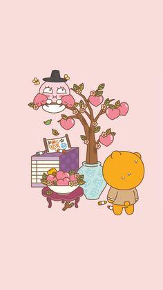 Laptop Wallpaper, Kawaii Wallpaper, Cartoon Pics, Cute Cartoon Wallpapers, Ryan Bear, Apeach Kakao, Peach Wallpaper, Kakao Friends, Character Wallpaper