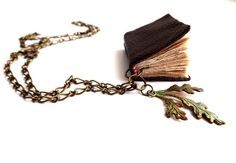 Leather Book Necklace  WIth an Antique Brass Leaf by MakingMyRent