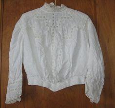 Vintage Antique Victorian Edwardian White Cotton Lawn Tea Dress Top #Handmade