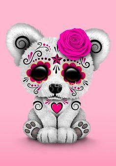 Pink Day of the Dead Sugar Skull Polar Bear   Jeff Bartels