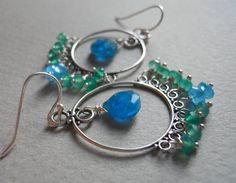 Cabana Boy apatite and emerald silver earrings https://www.etsy.com/listing/105658811/cabana-boy-apatite-and-emerald-silver