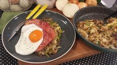 Bubble and squeak with gammon and egg