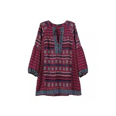 Yoins Yoins Folk Print V-neck Tie Front Blouse ($21) ❤ liked on Polyvore featuring tops, blouses, red, shirts & tops, purple top, tie neck blouse, print shirts, red neck tie and red blouse
