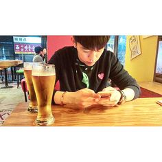 "Himchan's instagram new fresh photo: ""Rainy day"" Himchan likes beer. Hey @beckertracy96 you have to take Himchan to Oktoberfest :)"