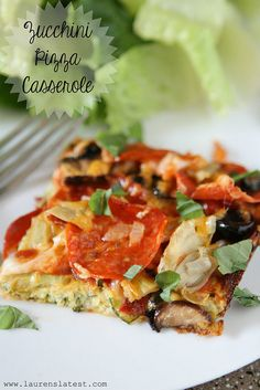 """Zucchini Pizza Casserole """"Sweet merciful. This casserole makes my life worth living. Low on the carbs, good on the butt, a little crispy cheese action going on, plus lots of pizza toppings. Holy Zac Efron this is so amazingly good you will want to eat the whole pan. For reals."""""""