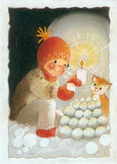 Postcrossing postcard from Finland Winter Images, Winter Pictures, Christmas Pictures, Winter Illustration, Christmas Illustration, Illustration Art, Christmas Tale, Vintage Christmas, 1 Advent