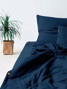 Bedroom in dark tones. #deepblue #obsidian bedding set