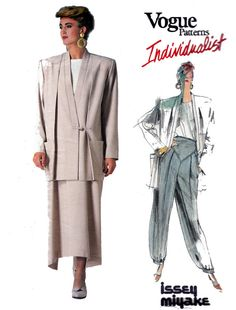 Issey Miyake Vogue pattern 1854 ... I have this ... I made the jacket more than once, the pants without the ankle band, and the skirt, too (it didn't really work on me)