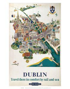 Reisposters Ierland (vintage posters) Poster - bij AllPosters.be