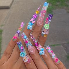 Bling Acrylic Nails, Aycrlic Nails, Best Acrylic Nails, Swag Nails, Coffin Nails, Hello Kitty Nails, Cute Acrylic Nail Designs, Exotic Nails, Kawaii Nails