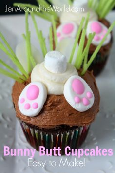 Sharing my easy tutorial today on making these adorable bunny butt cupcakes.