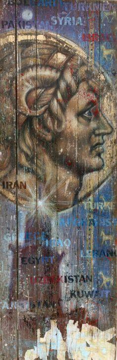 """Doors: SON OF HEAVEN (Alexander The Great), artist: Keith Batten, 32"""" x 96"""", colored pencil and collage on wooden door. visit: www.keithbatten.com"""