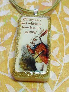 Alice in wonderland domino pendant white rabbit