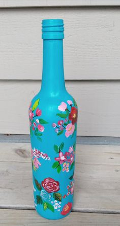 Check out this item in my Etsy shop https://www.etsy.com/listing/496827967/hand-painted-wine-bottle-acrylic-paint
