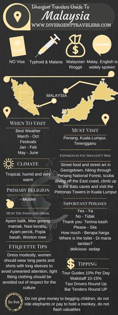 Divergent Travelers Travel Guide, With Tips And Hints To Malaysia. This is your ultimate travel cheat sheet to Malaysia. Click to see our full Malaysia Travel Guide from the Divergent Travelers Adventure Travel Blog and also read about all of the different adventures you can have in Malaysia at http://www.divergenttravelers.com/destinations/malaysia/